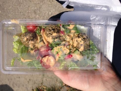 My already-steamed up raw falafel salad.
